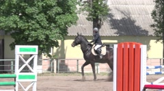 Horse racing, dressage horse and rider. Competitions of equestrian sport Stock Footage