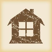 Grungy house with window icon - stock illustration