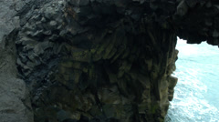 Cave on the Coast in ICELAND Stock Footage