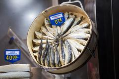 Fishes exposed in the market - stock photo