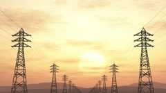 4K High Voltage Electric Poles System in the Sunset Sunrise 3D Animation 1 fl Stock Footage