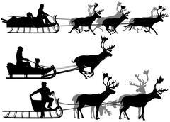 Reindeer sleighs Stock Illustration