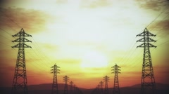4K High Voltage Electric Poles System in the Sunset Sunrise 3D Animation 2 st Stock Footage