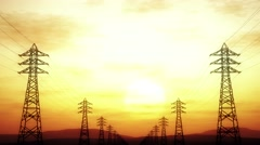4K High Voltage Electric Poles System in the Sunset Sunrise 3D Animation 3 st Stock Footage