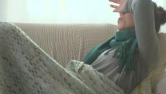 Woman caught cold. Flu Stock Footage