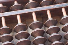 Japanese antique abacus - stock photo
