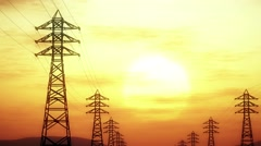 4K High Voltage Electric Poles System in the Sunset Sunrise 3D Animation 7 st Stock Footage