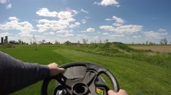 2.7k mowing the lawn neat view Stock Footage