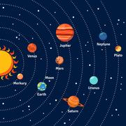Solar system orbits and planets background - stock illustration