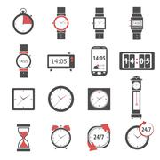 Time Icon Black Set - stock illustration