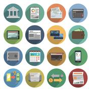 Stock Illustration of Bank Icons Flat Set