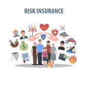 Insurance Concept Flat - stock illustration