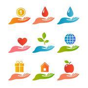 Hands palm up logo set Stock Illustration