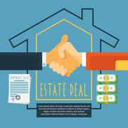 Hands handshake estate deal concept Stock Illustration