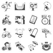 Cycling icon set black - stock illustration
