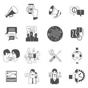 Internet forums concept icons set black Stock Illustration