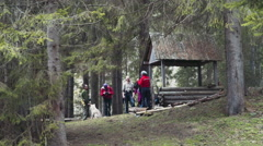 Group of hikers and husky in forest camp Stock Footage