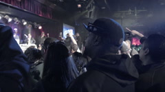 BB Kings crowd fans audience cheering Hip Hop show live rap music slow motion NY - stock footage