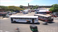 Timelapse of traffic with ancient fort in the background, Galle, Sri Lanka. Stock Footage