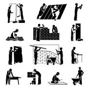 Stock Illustration of Worker Icons Black