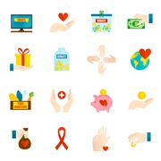 Charity Icons Flat Set - stock illustration