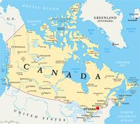 Canada Political Map - stock illustration