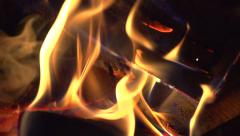 Fireplace. Fire. Bonfire burning at night Stock Footage