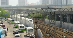 4k overlook high-speed rail slowly pulling out of the station. Stock Footage