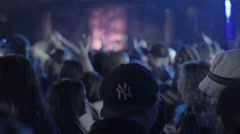 Crowded Hip Hop show live rap music crowd slow motion BB Kings club NYC Stock Footage