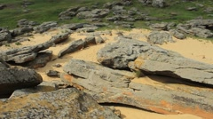 Stone tomb in the steppes of Ukraine Stock Footage
