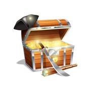 Pirate treasure chest illustration - stock illustration