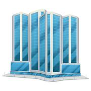 Urban glass tall buildings illustration - stock illustration