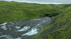 Skógá River headwaters of SKOGAFOSS WATERFALL, ICELAND Stock Footage