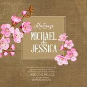 Marriage card with romantic flowers - stock illustration