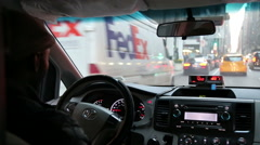 NYC taxi from back seat POV aith audio Stock Footage