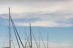 Sail boat yacht dorsal mast Stock Photos