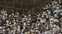 "Muslim pilgrims circling around the Kaaba "" Tawaf"" Stock Footage"