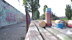 Berlin Mauerpark Graffiti Cans Stock Footage