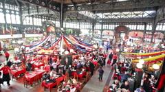 Santiago Fish Market Restaurants Stock Footage