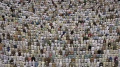 Prayer time at at Holy Mosque, Mecca, Saudi Arabia - stock footage