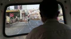 Window view at street of Jodhpur during the ride in rickshaw. Stock Footage