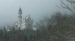 New Swanstone Castle in Winter, Germany Stock Footage