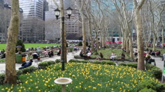 Bryant park with audio Stock Footage