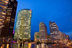 Evening view of Potsdamer Platz - financial district of Berlin, Germany Stock Photos