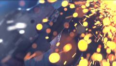 Metal sawing. Grinding process on steel structure - stock footage