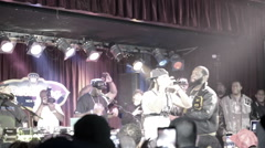 Smif-n-Wessun performing slow motion stage crowd holding up smartphones BB Kings Stock Footage