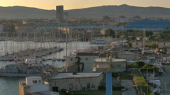 POV Passing Livorno Italy harbor marina early morning light - 4K UHD 0478 Stock Footage
