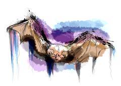 flying bat - stock illustration