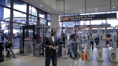 People inside subway station in Times Square, slow motion, Manhattan, NYC Stock Footage