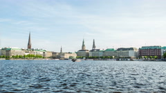 Alster and Jungfernstieg with town hall hyperlapse timelapse Stock Footage